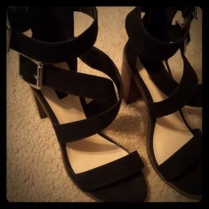 Black Strappy Heels Chunky Heels Forever 21